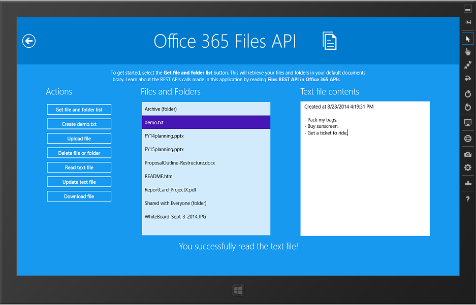MyFiles.xaml is where you access Office 365 files and folders