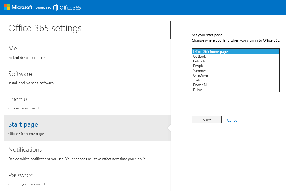 Office 365 settings v2