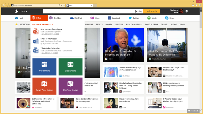 Office Online link to Bing MSN