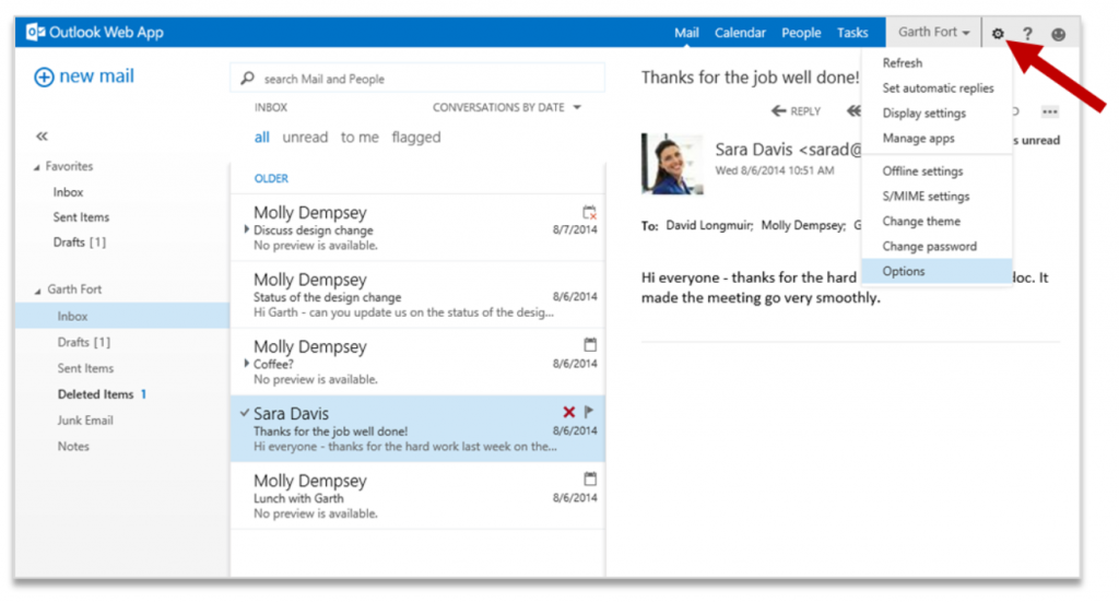 Improving Outlook Web App options and settings 1