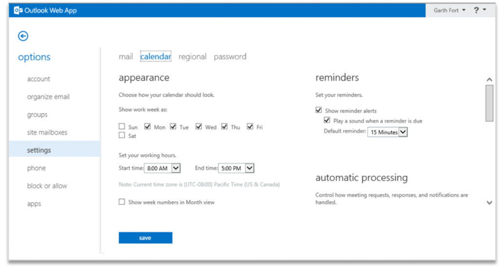 Improving Outlook Web App options and settings 2
