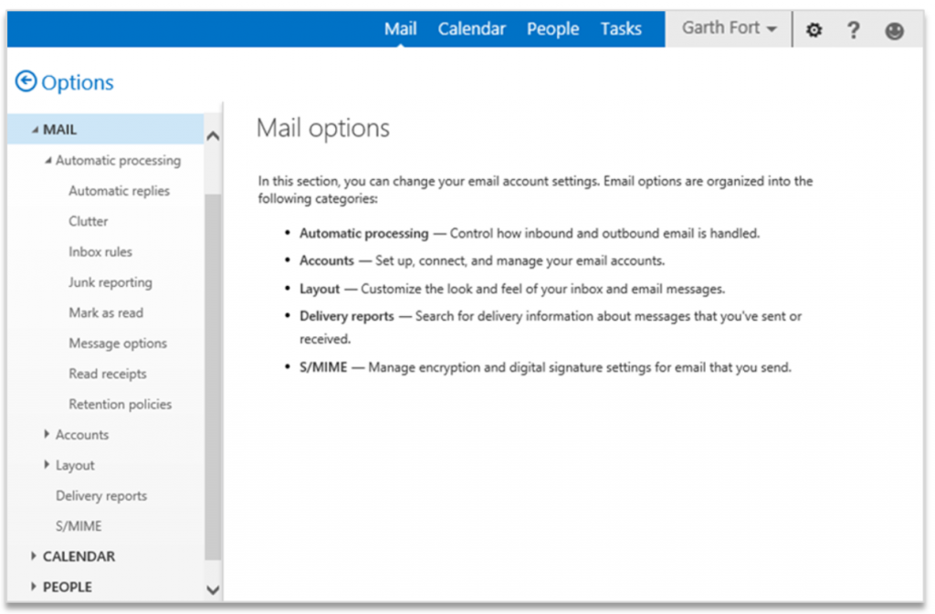 Improving Outlook Web App options and settings 3