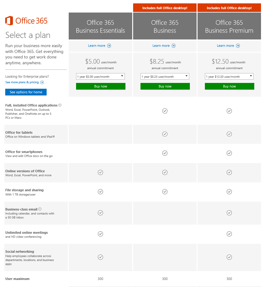 Office 365 plans for small and midsized businesses