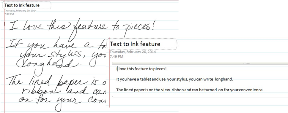OneNote Text to Ink