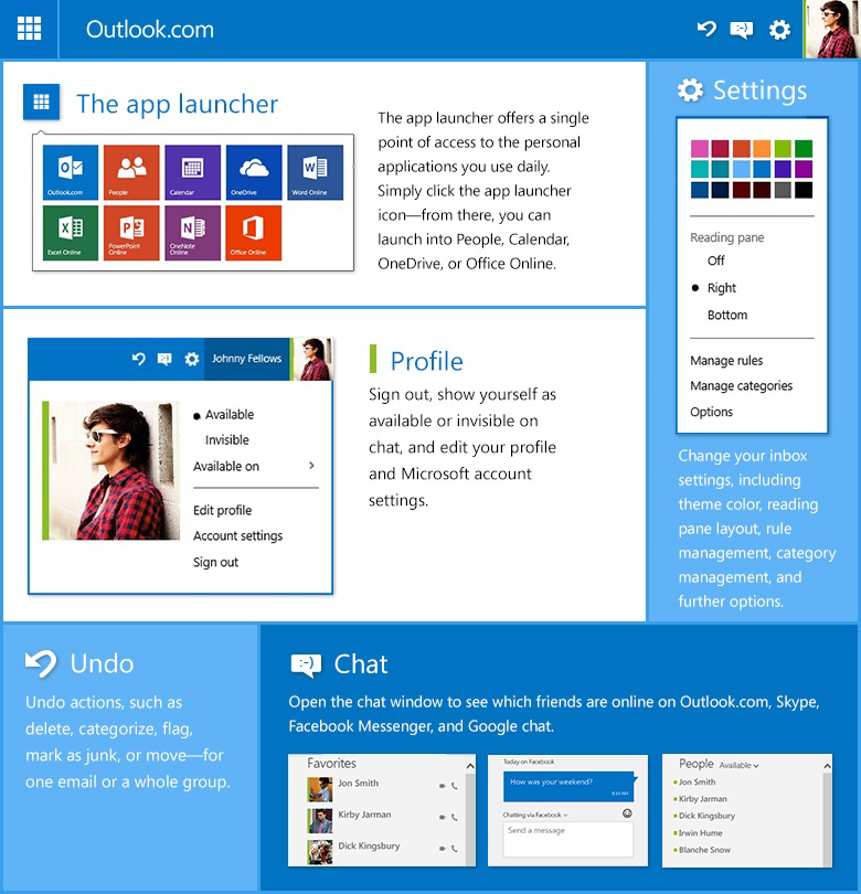 Outlook.com new header infographic