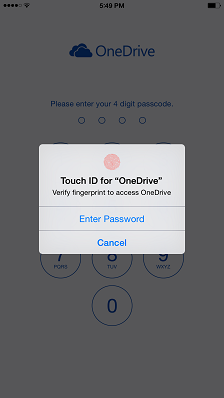OneDrive Touch ID