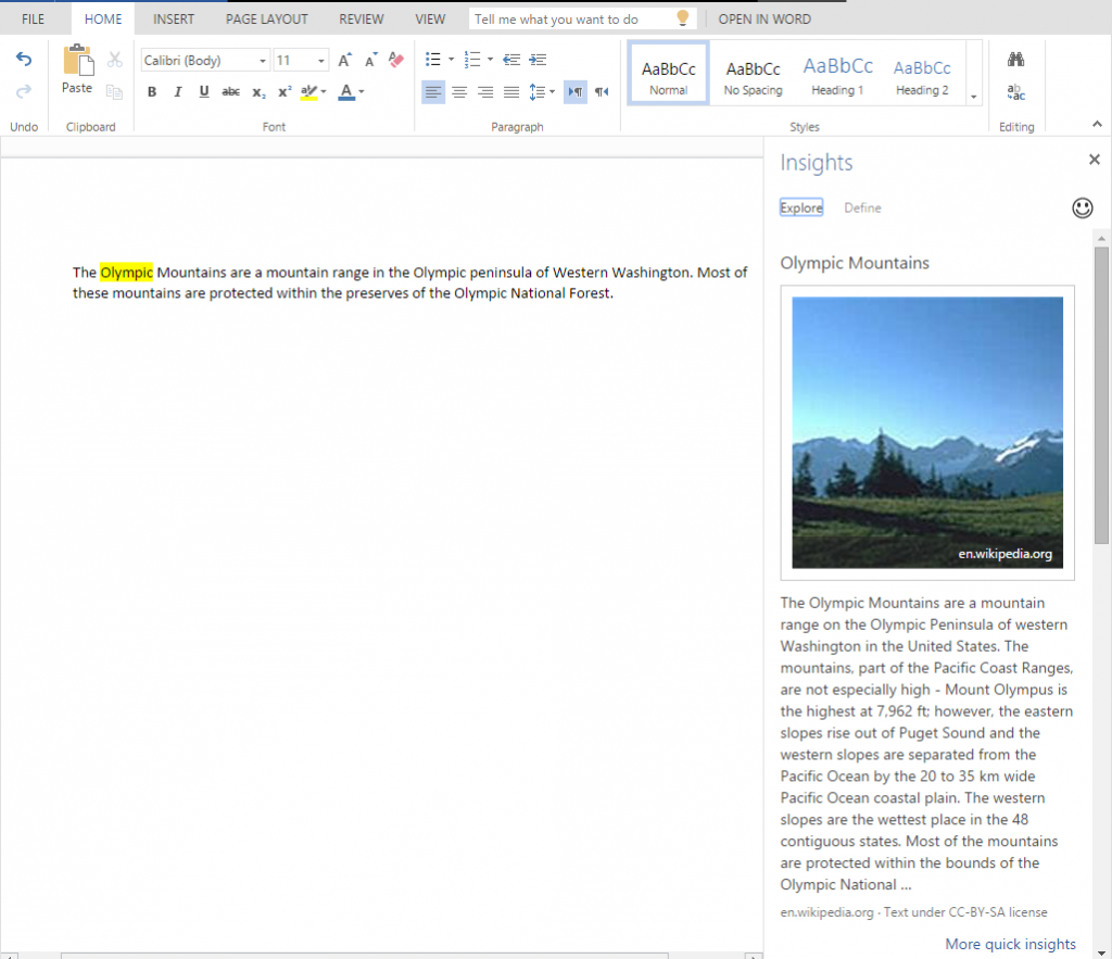 Insights for Office in Word Online 4
