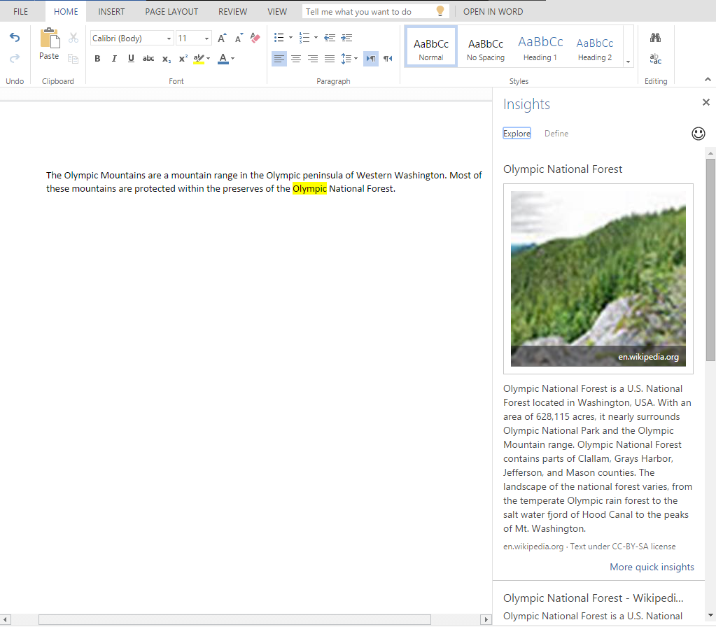Insights for Office in Word Online 5