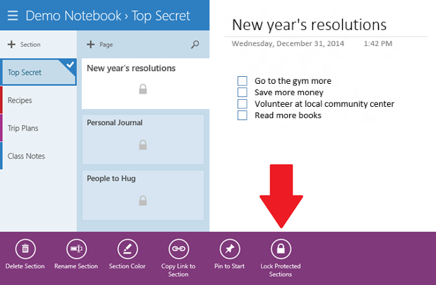OneNote for Windows Store app 2
