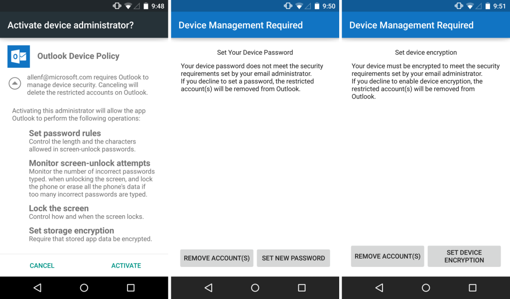 Android setup device mangement