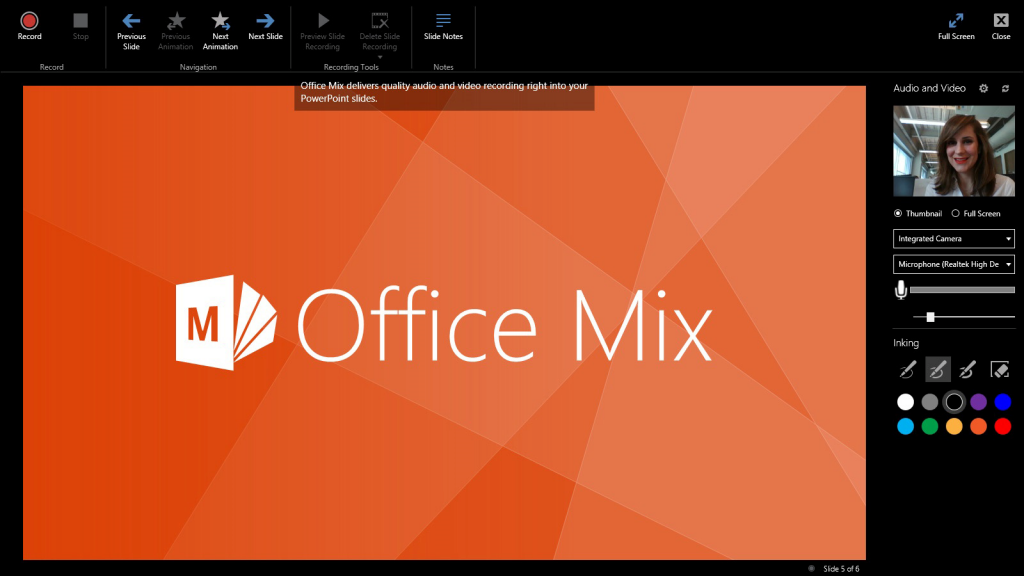 Deliver compelling presentations using Office Mix Slide Notes and closed captioning 1