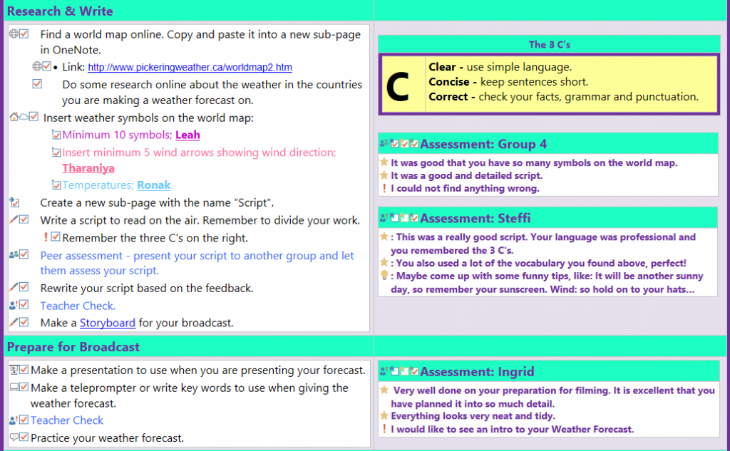 Our secret weapon OneNote for Sharing  collaborating and assessing 5