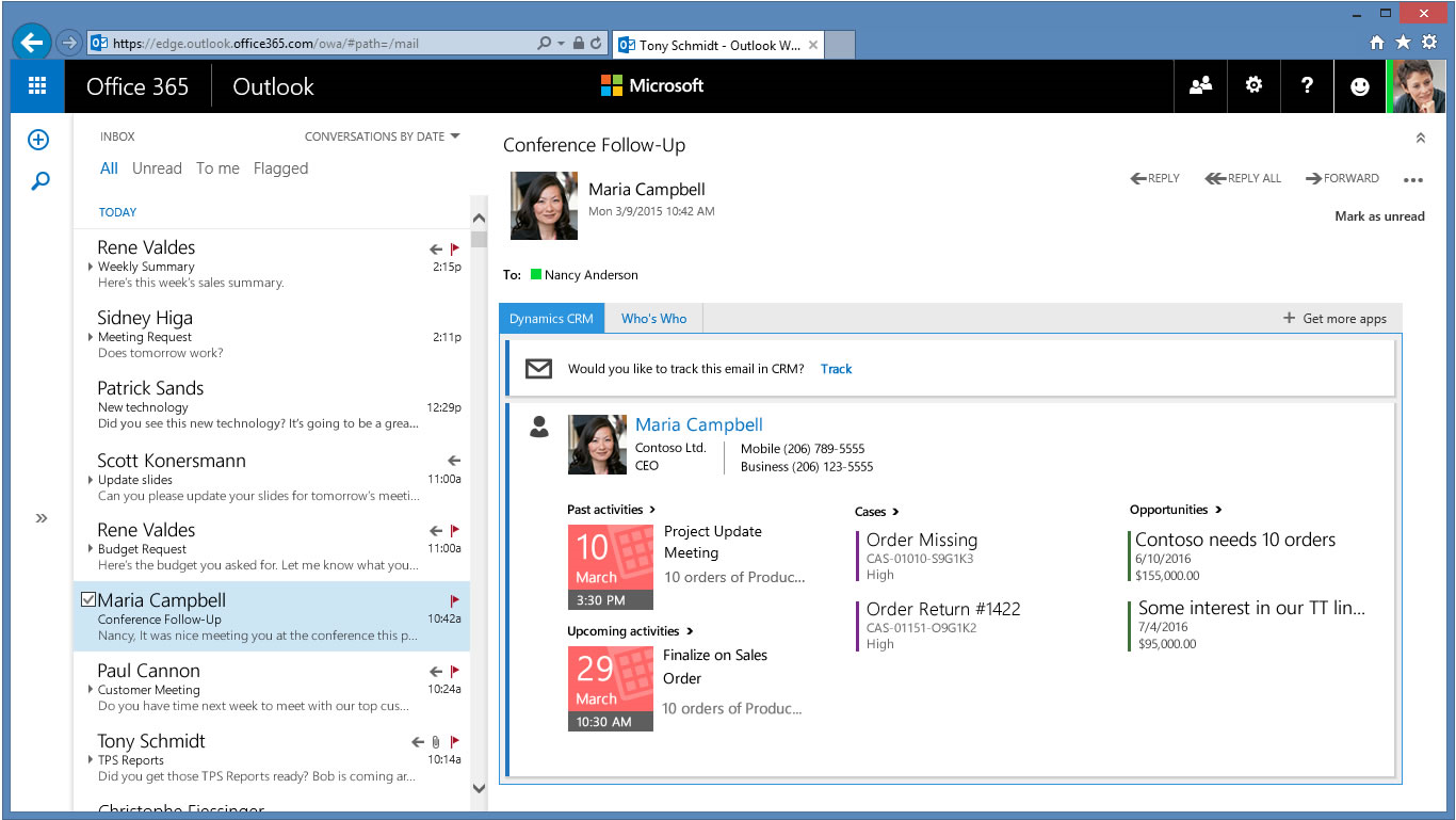 Amazing business productivity through Office 365-Dynamics CRM integration 1