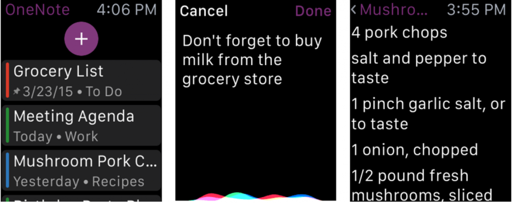 Search handwritten notes and Apple Watch support for OneNote 1