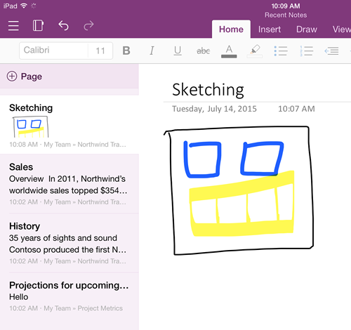 OneNote July mobile updates for iOS and Android 1