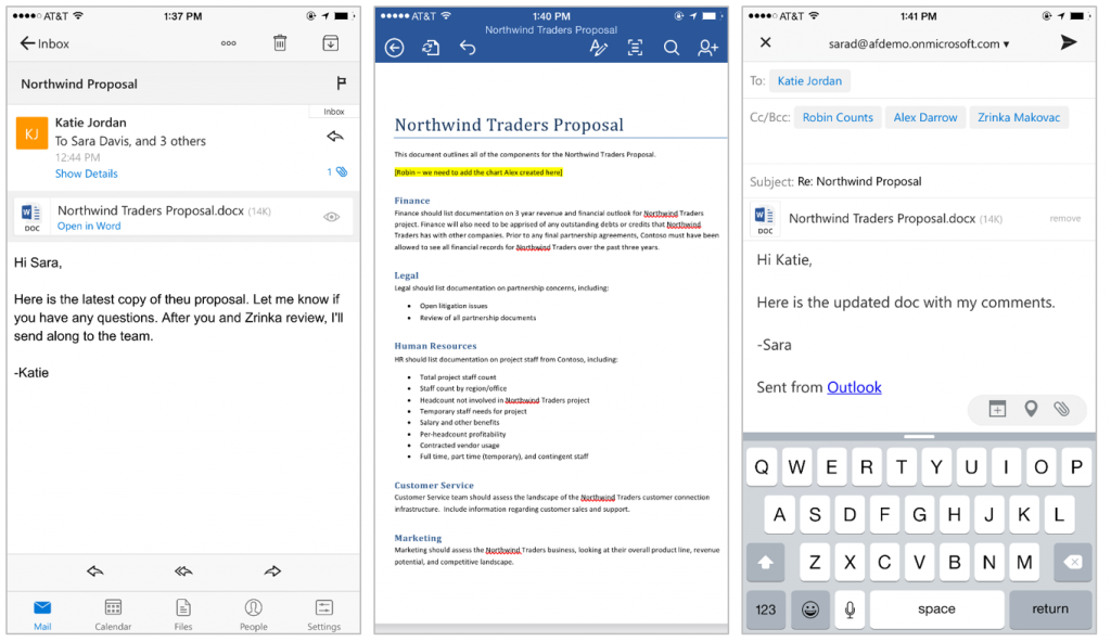 Deeper integration between Office documents and Outlook for iOS 2