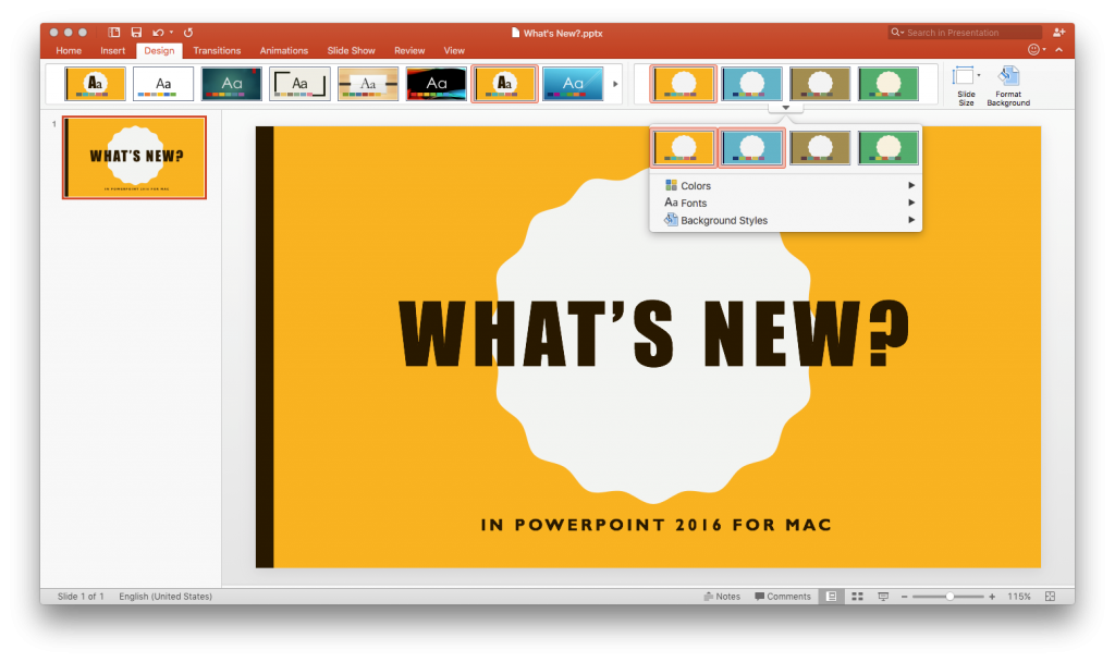 What is new in PowerPoint 2016 for Mac 1