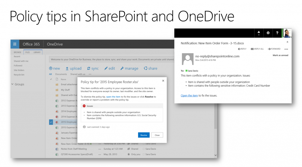 Data Loss Prevention in OneDrive for Business 1