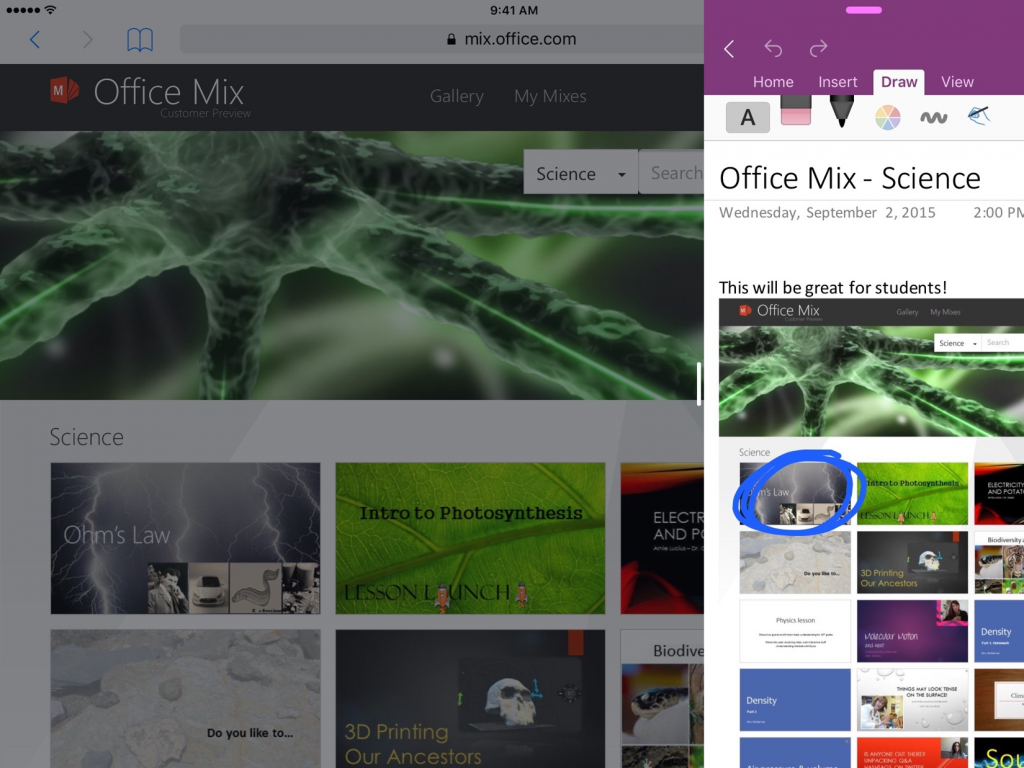 OneNote adds support for iOS 9 2
