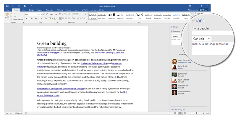 Share with the click of a button in Office 2016 1