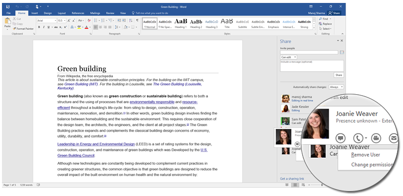 Share with the click of a button in Office 2016 4