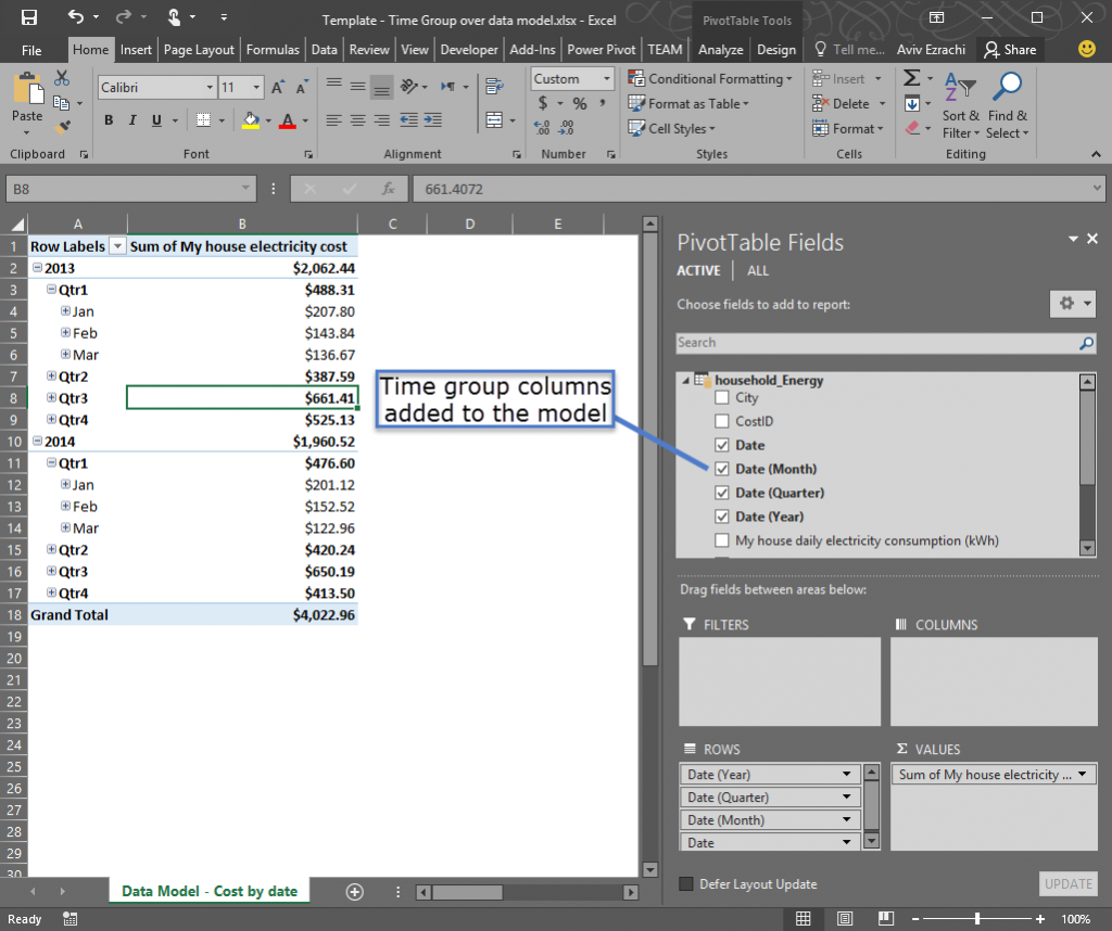 Time grouping enhancements in Excel 2016 1 - words