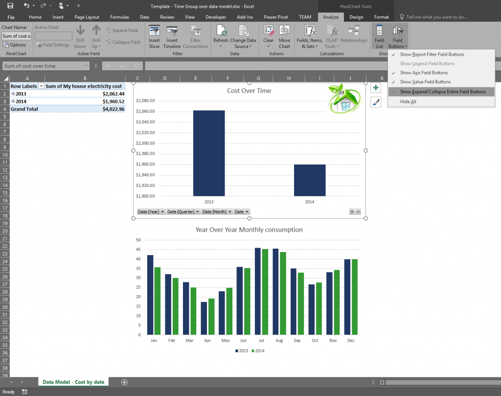 Time grouping enhancements in Excel 2016