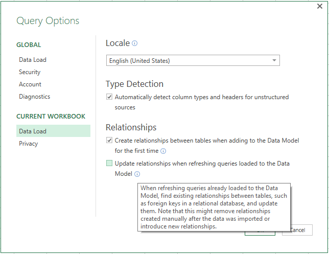 Excel 2016 and Power Query Nov update 4