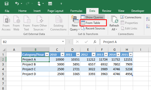 Learn how to unpivot static tables in Excel 2016 5