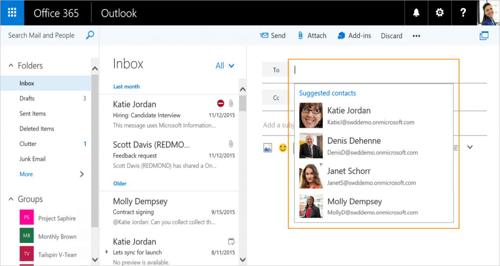 Smarter address book and flight confirmations coming to Outlook on the web 1b