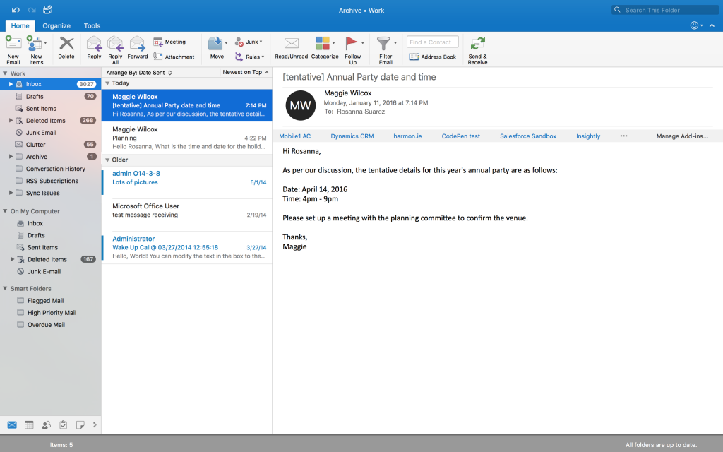 Full Screen view feature in Outlook for Mac 1