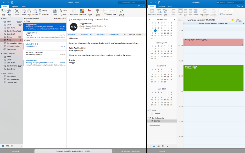 Full Screen view feature in Outlook for Mac 6