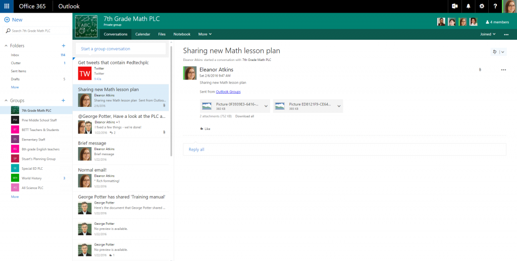 collaborating in schools and universities with office 365 groups