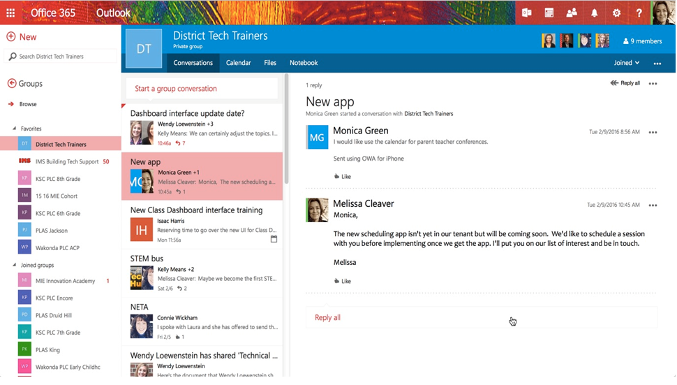 Collaborating in schools and universities with Office 365 Groups 6