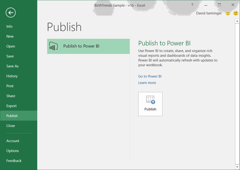 Share your Excel insights with Power BI 4