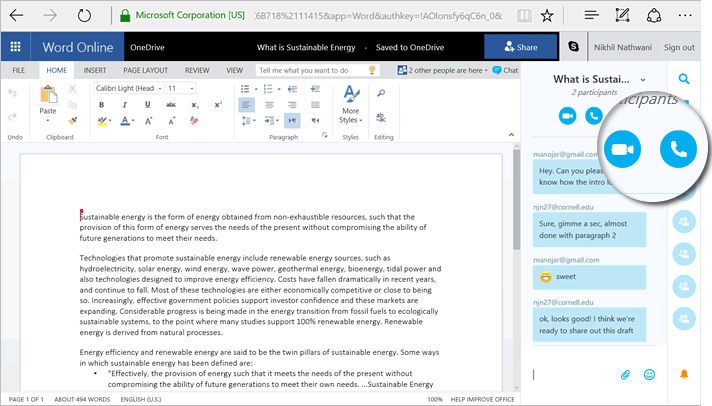 Collaboration in Office chat with your co-editors in real-time via Skype 3b