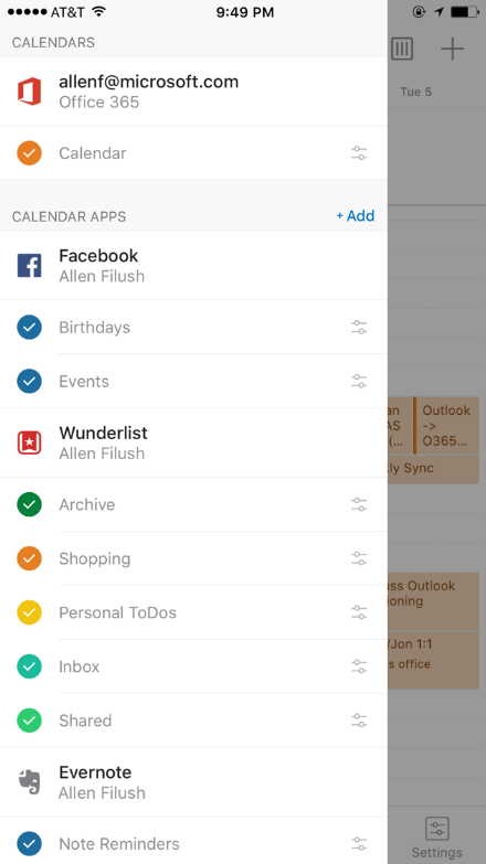 Introducing Wunderlist Facebook and Evernote in Outlook on iOS and Android 1