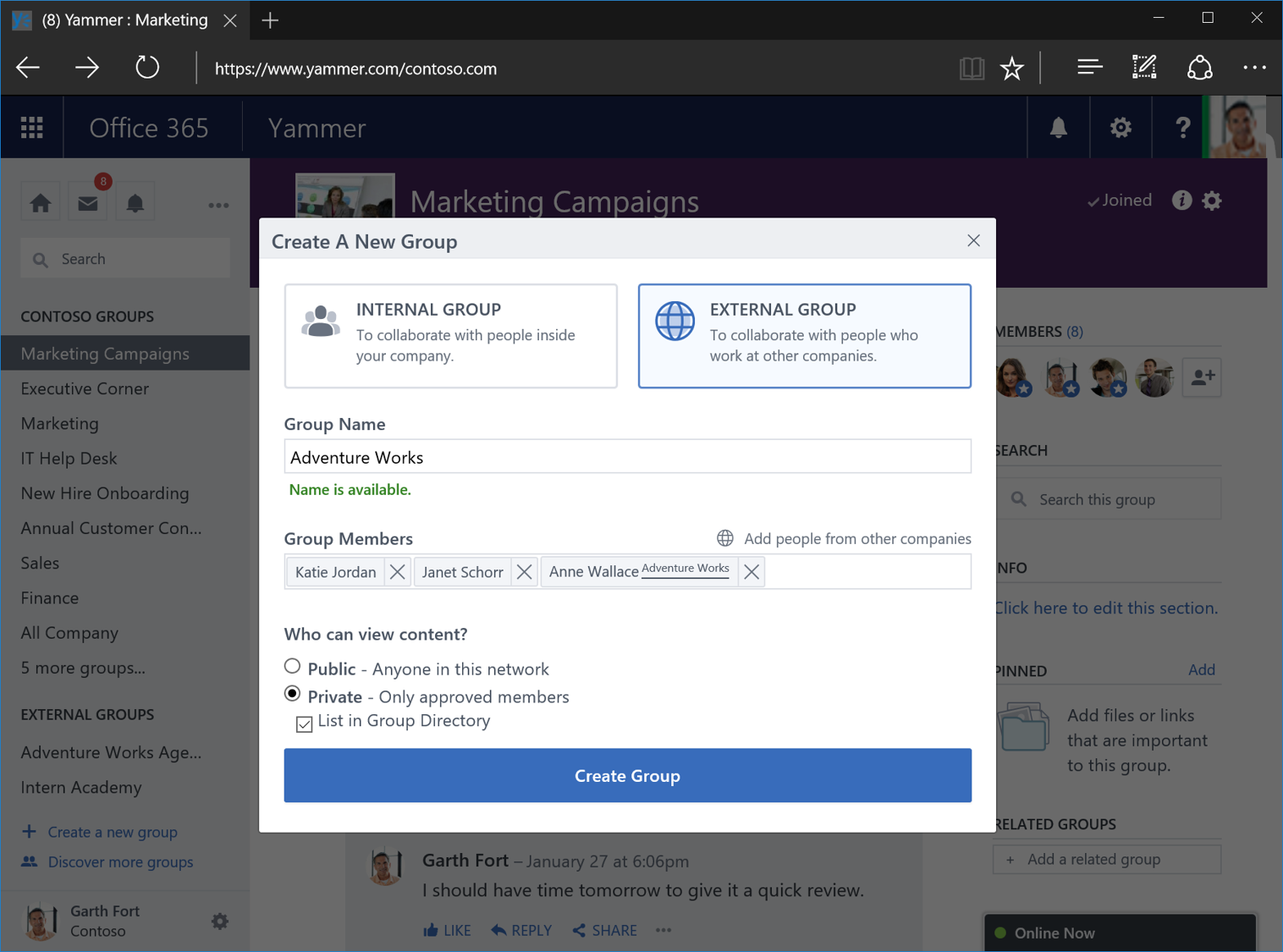 Yammer external groups 1