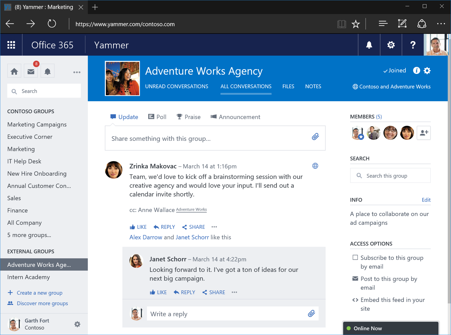 Yammer external groups 2