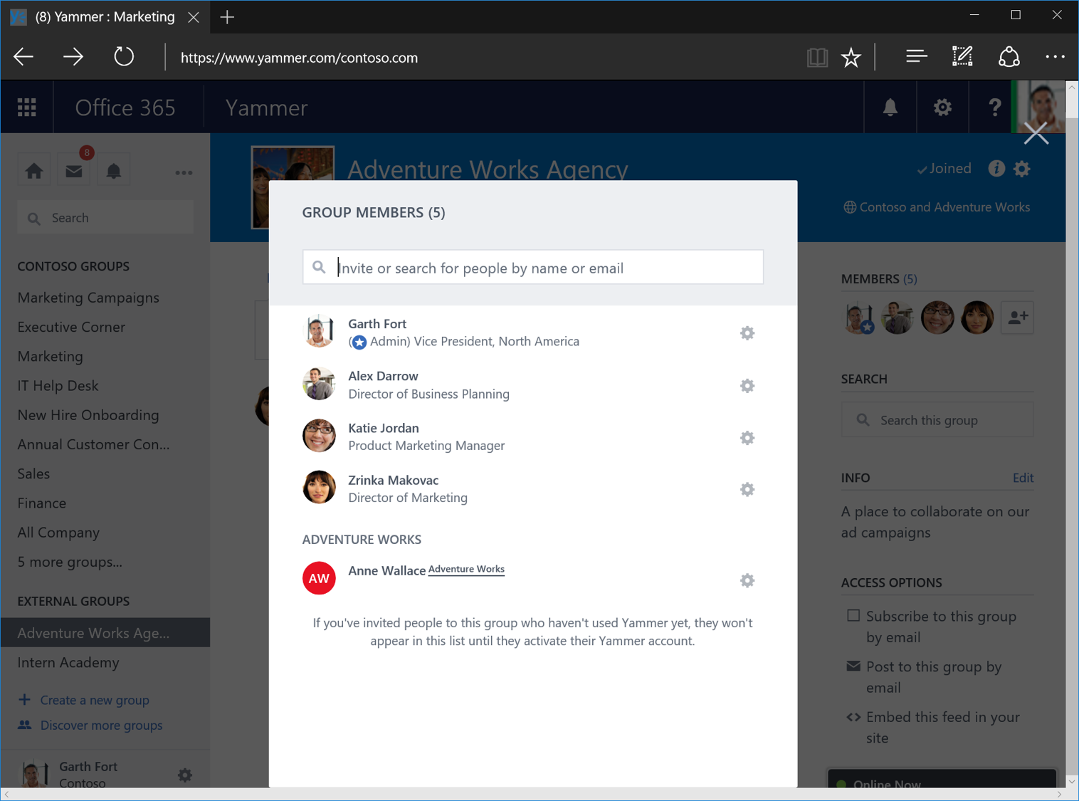 Yammer external groups 3