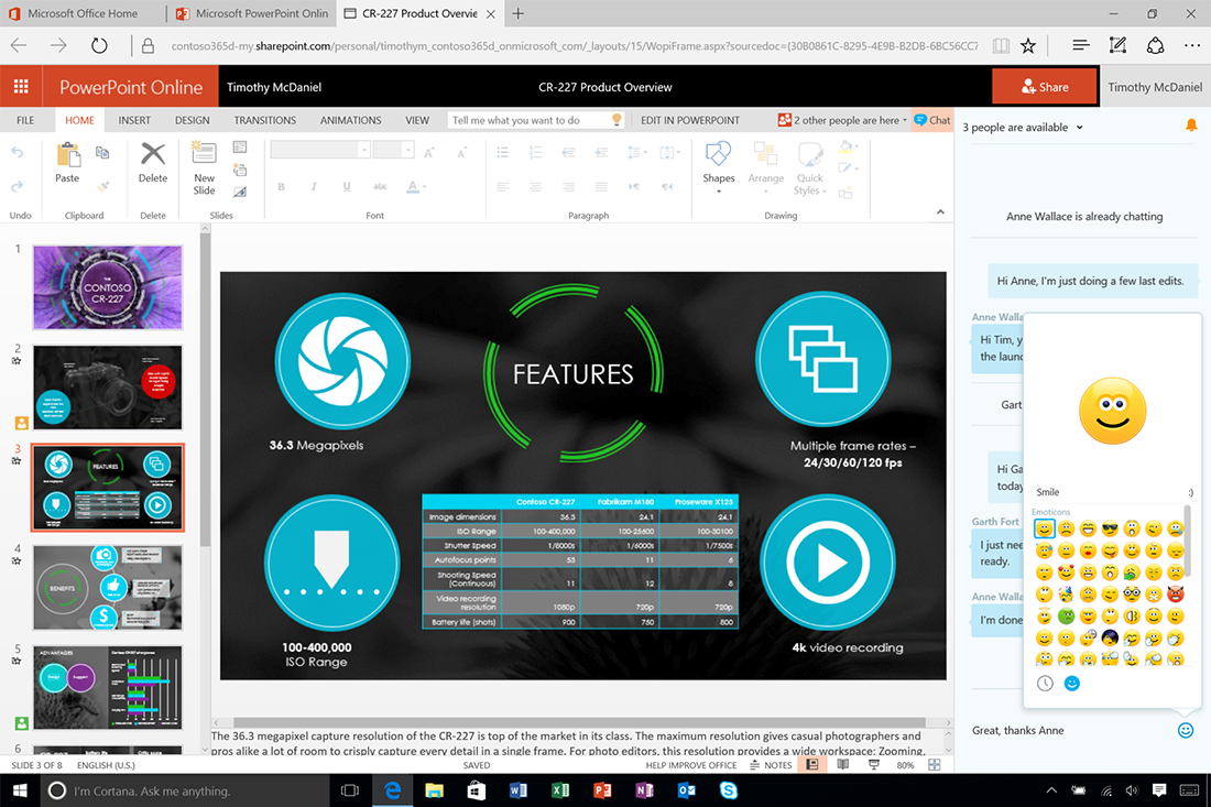 office online—chat with your co-editors in real-time - microsoft 365