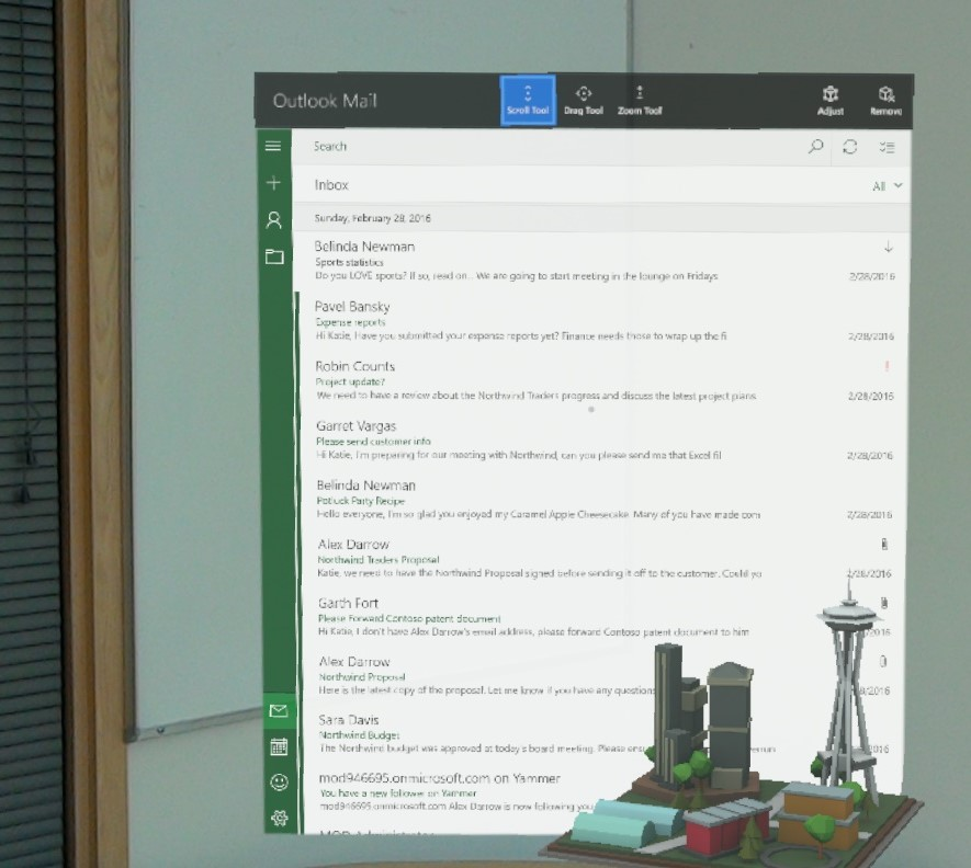 bringing outlook mail and calendar to microsoft hololens microsoft