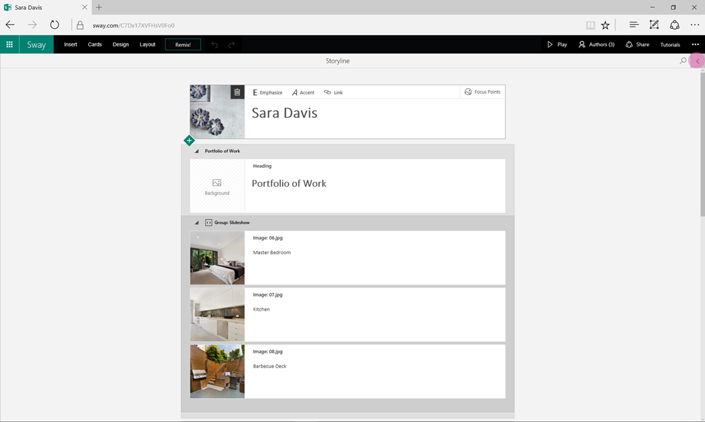 A Sway is shown in the expanded authoring mode, with the Cards pane to the left, and a maximized Storyline area taking over the rest of the app. The Preview area is hidden from view entirely for a more focused authoring experience.