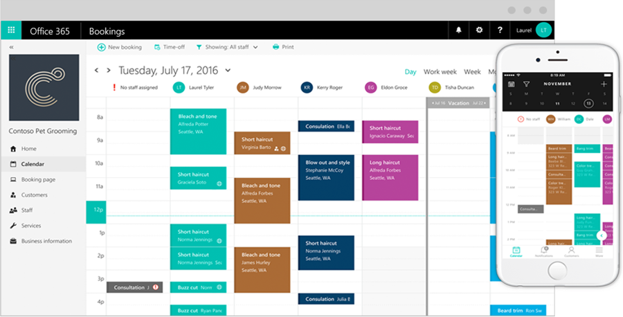 a calendar layout of several staff members' appointments on both a computer screen and the Bookings app