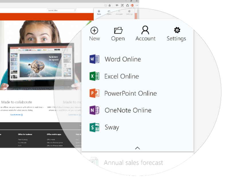 A quicker way to access and create Office documents on Microsoft Edge browser FI