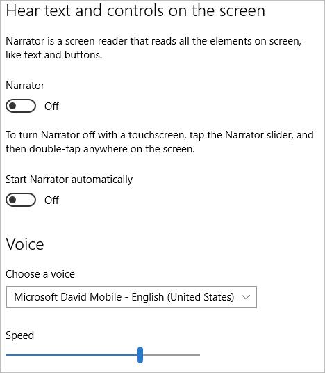 Screenshot of Narrator in Ease of Access Settings