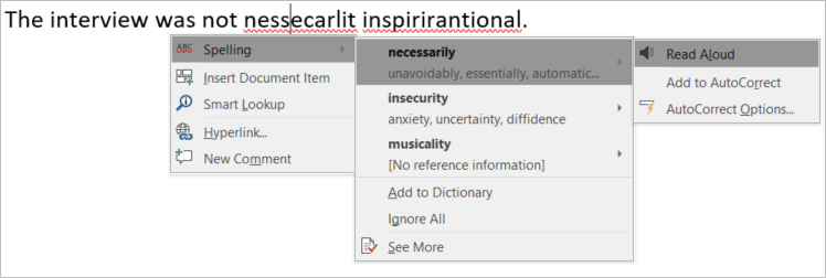 Screenshot of Editor in Word for PCs with synonyms shown alongside suggested spellings and an option to have a suggestion read aloud.