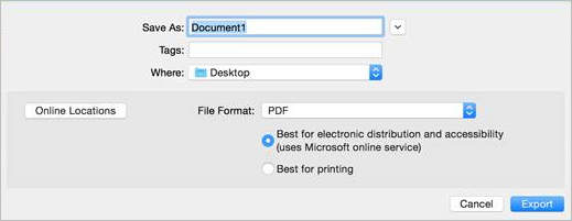 """Screenshot of File -> Save As in Word for Mac with """"Best for electronic distribution and accessibility"""" option selected"""