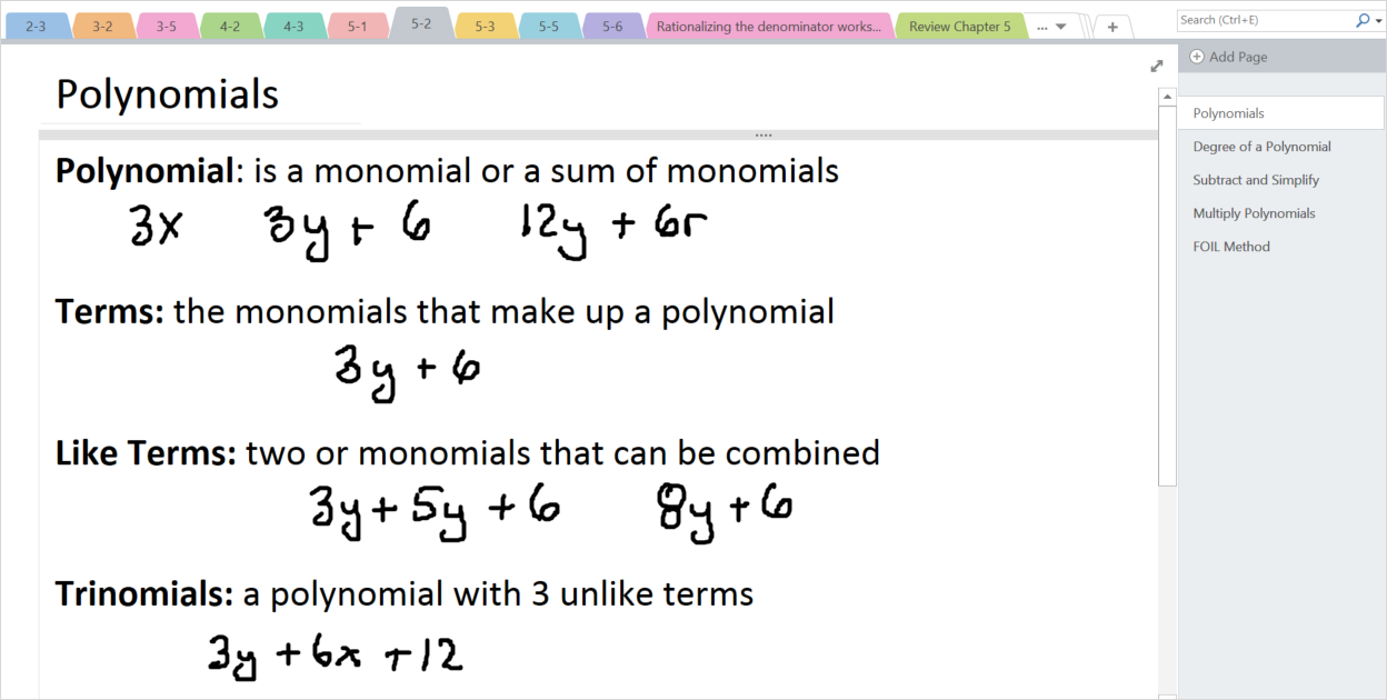 In this image, a teacher has written examples for a polynomials lesson using digital ink in OneNote.