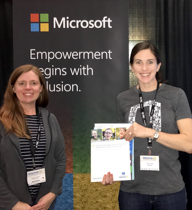 Robin Lowell at the exhibition booth with the Microsoft Office team at Closing the Gap conference.